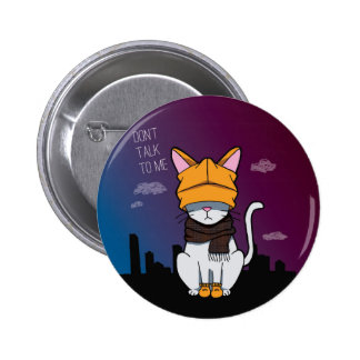 Alone In A Big City Cartoon Cat 6 Cm Round Badge