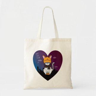 Alone In A Big City Cartoon Cat Tote Bag