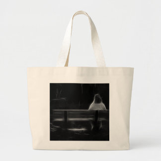 Alone on a Bench (B/W) Fract Canvas Bag