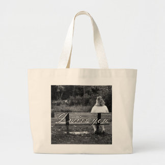 Alone on a Bench (B/W) w/Text Canvas Bags