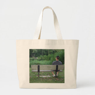 Alone on a Bench (Color) Canvas Bag