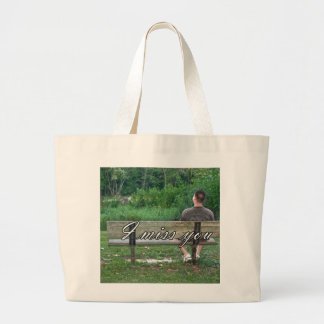 Alone on a Bench (Color w/text) Tote Bags