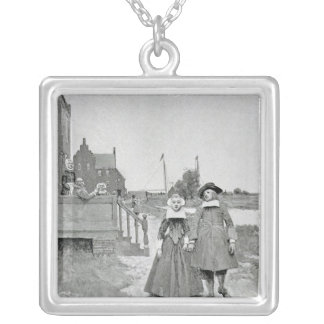 Along the Canal in Old Manhattan Silver Plated Necklace