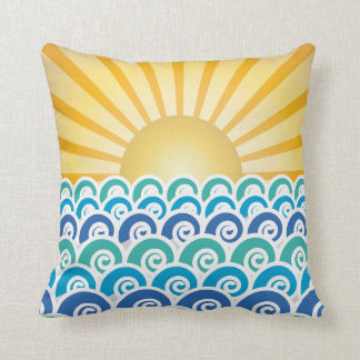 Along the Waves Blue Pillow