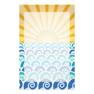 Along the Waves Blue Stationery