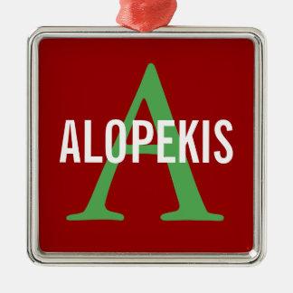 Alopekis Breed Monogram Silver-Colored Square Decoration