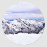 Alp Mountains Covered With Snow Round Sticker