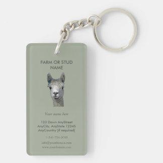 Alpaca Alpakka Alpaka Alpaga Double-Sided Rectangular Acrylic Key Ring