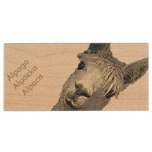 Alpaca Alpakka Alpaka Alpaga Wood USB 2.0 Flash Drive