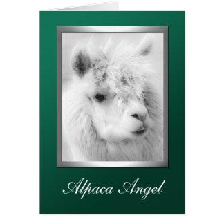 Alpaca Angel Green Christmas Holiday Greeting Card