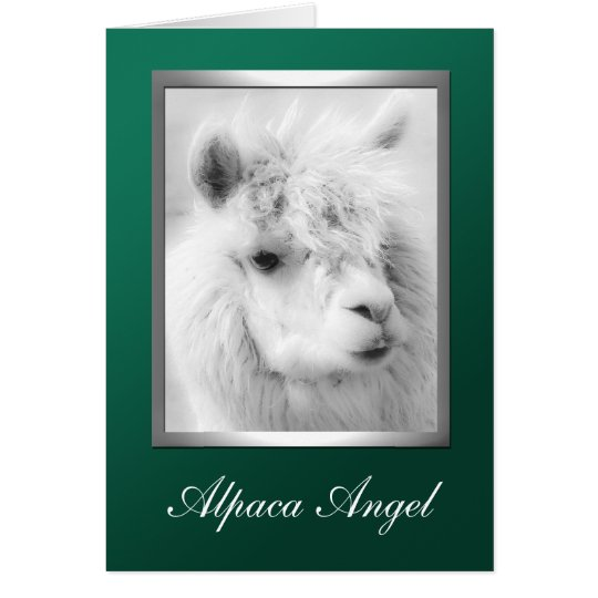 Alpaca Angel Green Christmas Holiday Greeting Card
