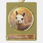 Alpaca Christmas Gold Plated Banner Ornament