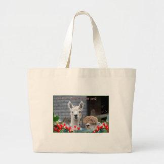 Alpaca Christmas Large Tote Bag