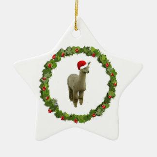 Alpaca Christmas Wreath Christmas Ornament