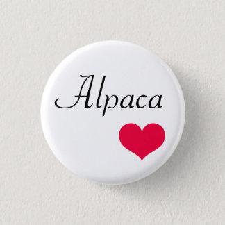 Alpaca heart 3 cm round badge