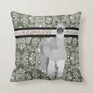Alpaca Olive Damask  Mojo Pillow