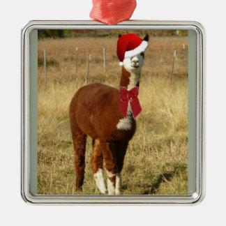 Alpaca Santa Christmas Ornament