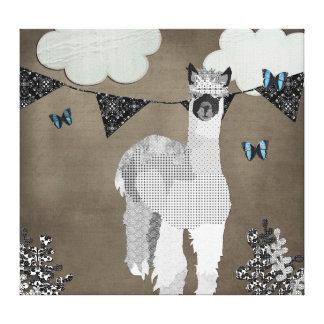 Alpaca Shades of Grey Canvas Art Gallery Wrap Canvas
