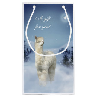 Alpaca Winter Christmas Small Gift Bag