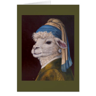 Alpaca with a Pearl Earring card