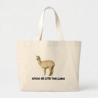Alpacas are cuter than llamas large tote bag