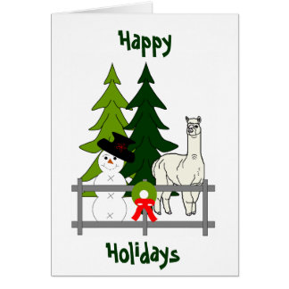 Alpacas Fun In The Snow Holiday Greeting Card