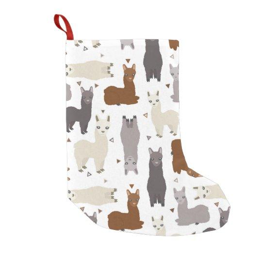 Alpacas Geo Pattern Small Christmas Stocking
