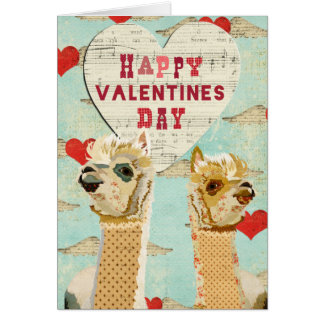 Alpacas Heart Valentine Card