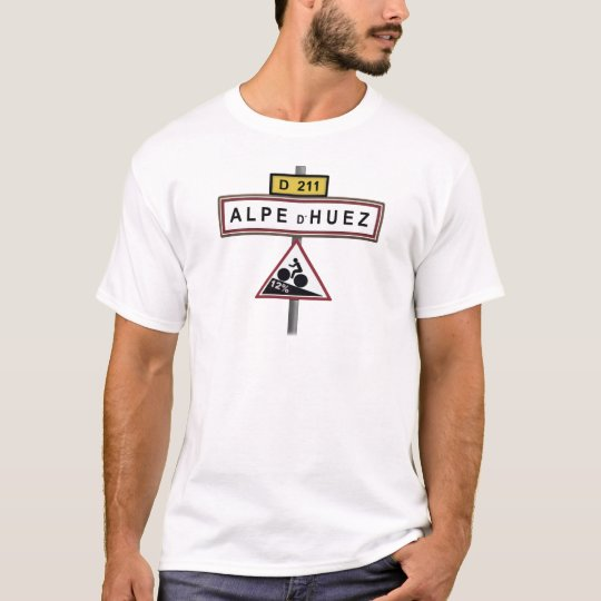 Alpe d'huez road sign gradient cycling shirt