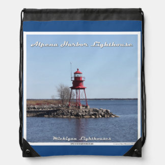 Alpena Harbor Lighthouse - Drawstring Backpack