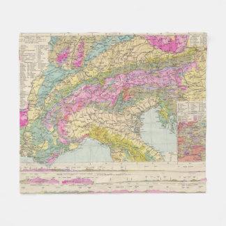 Alpenlander - Atlas Map of the Alps Fleece Blanket