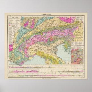 Alpenlander - Atlas Map of the Alps Poster