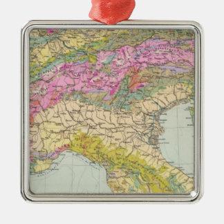 Alpenlander - Atlas Map of the Alps Silver-Colored Square Decoration
