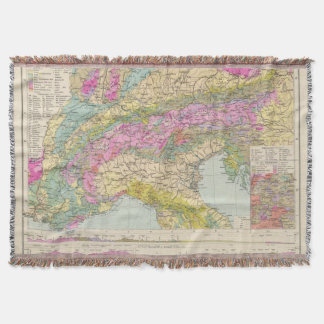 Alpenlander - Atlas Map of the Alps Throw Blanket