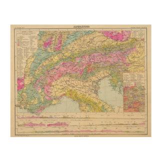Alpenlander - Atlas Map of the Alps Wood Print