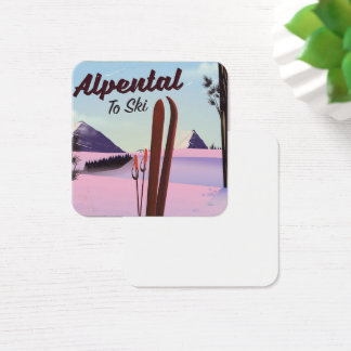 Alpental  King County, Washington ski poser Square Business Card