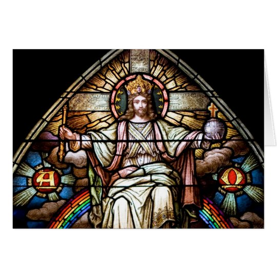 Alpha and Omega Stained Glass Card