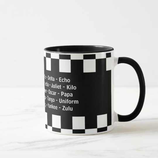 Alpha Bravo Charlie Echo Phonetic Alphabet Mug
