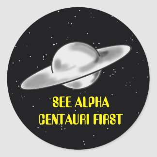 ALPHA CENTAURI FLYING SAUCER TRAVEL ROUND STICKER