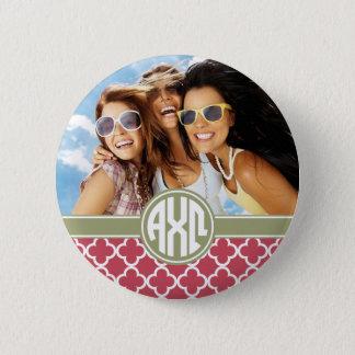 Alpha Chi Omega   Monogram and Photo 6 Cm Round Badge