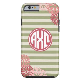 Alpha Chi Omega   Monogram Stripe Pattern Tough iPhone 6 Case