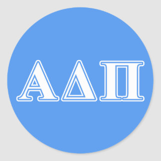 Alpha Delta Pi Dark Blue and White Letters Classic Round Sticker