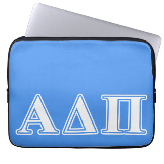Alpha Delta Pi Dark Blue and White Letters Laptop Sleeve