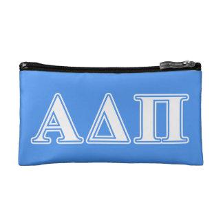 Alpha Delta Pi Dark Blue and White Letters Makeup Bag