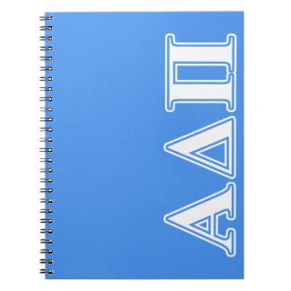 Alpha Delta Pi Dark Blue and White Letters Notebooks