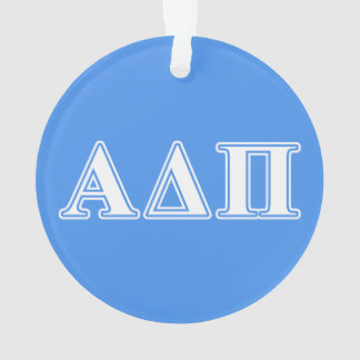 Alpha Delta Pi Dark Blue and White Letters Ornament