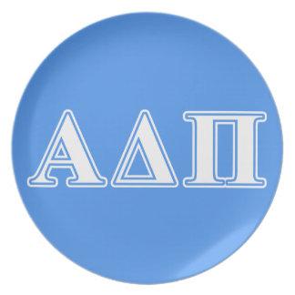 Alpha Delta Pi Dark Blue and White Letters Plate