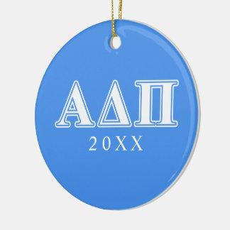 Alpha Delta Pi Dark Blue and White Letters Round Ceramic Decoration