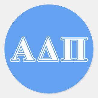 Alpha Delta Pi Dark Blue and White Letters Round Sticker