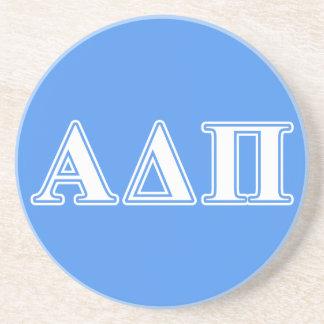 Alpha Delta Pi Dark Blue and White Letters Sandstone Coaster
